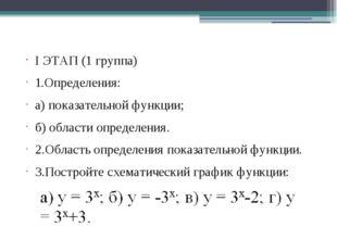 I ЭТАП (1 группа) 1.Определения: а) показательной функции; б) области определ