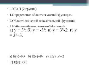 I ЭТАП (2 группа) 1.Определение области значений функции. 2.Область значений