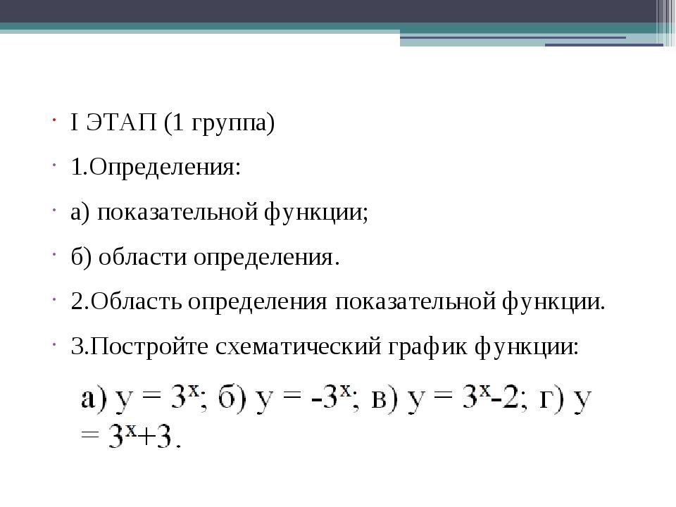 I ЭТАП (1 группа) 1.Определения: а) показательной функции; б) области определ...