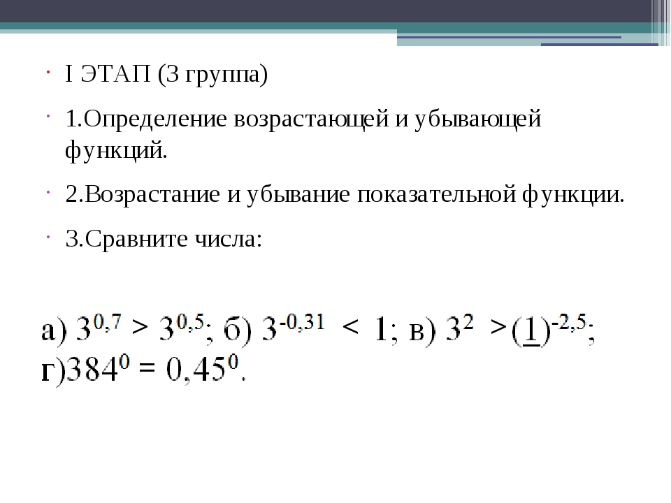 I ЭТАП (3 группа) 1.Определение возрастающей и убывающей функций. 2.Возрастан...