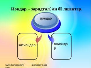 www.themegallery.com Company Logo катиондар иондар аниондар Иондар – зарядтал