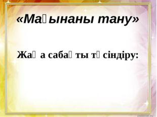 Жаңа сабақты түсіндіру: «Мағынаны тану»