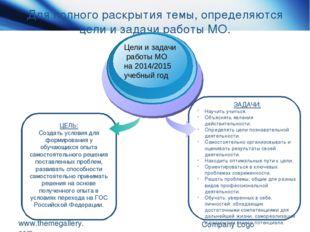 Для полного раскрытия темы, определяются цели и задачи работы МО. www.themega
