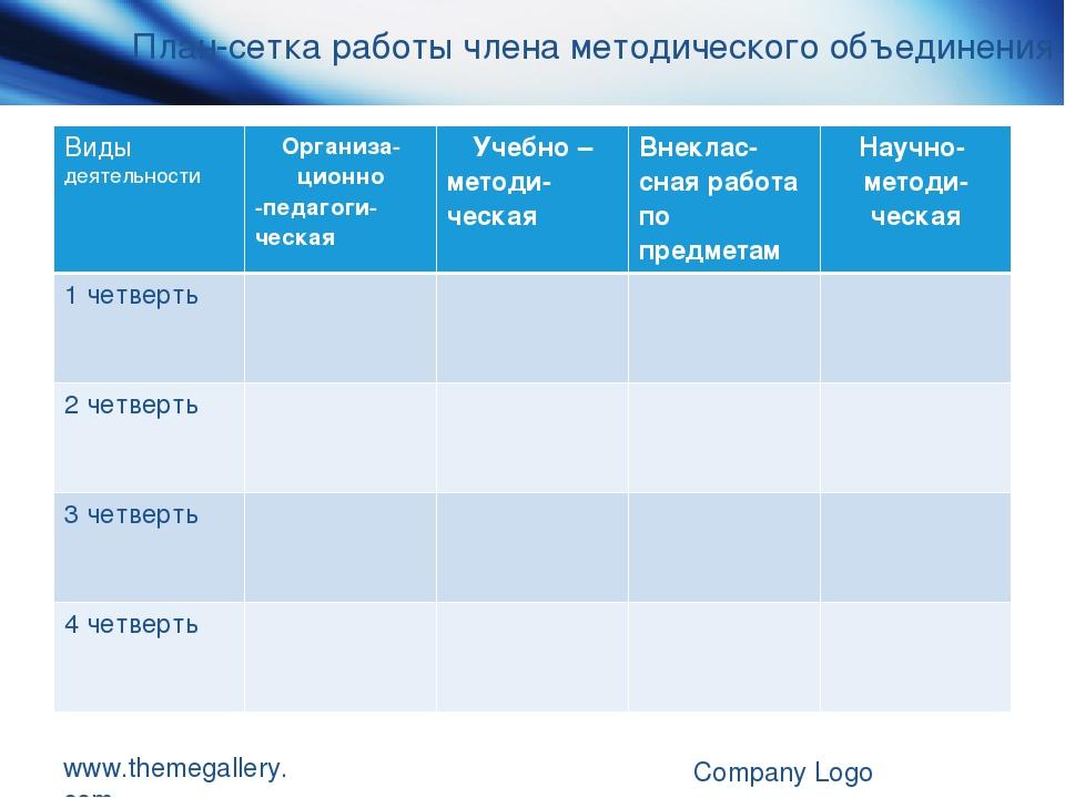 www.themegallery.com Company Logo План-сетка работы члена методического объед...