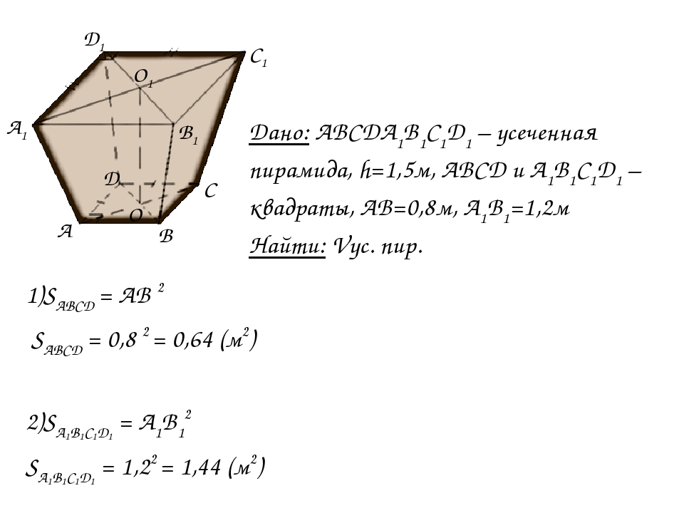 1)SABCD = AB 2 SABCD = 0,8 2 = 0,64 (м2) 2)SA1B1C1D1 = A1B12 SA1B1C1D1 = 1,22...