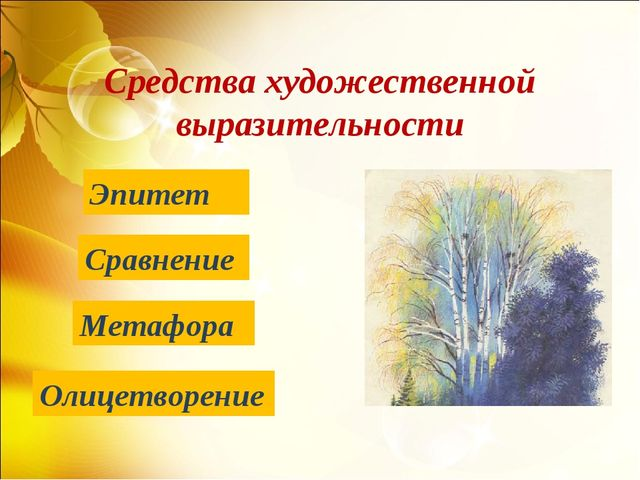 Средства художественной выразительности Эпитет Олицетворение Сравнение Метафора