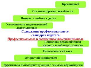 Содержание профессионального стандарта педагога Профессиональные и личностные