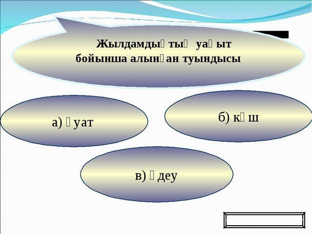 в) үдеу б) күш а) қуат Жылдамдықтың уақыт бойынша алынған туындысы Ойынды жал...
