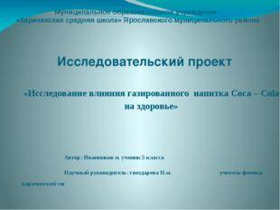 Муниципальное образовательное учреждение «Карачихская средняя школа» Ярославс