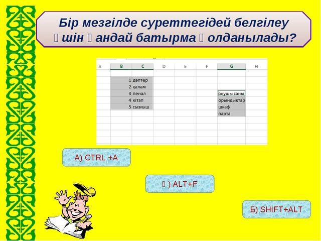 А) CTRL +А Ә) ALT+F Б) SHIFT+ALT Бір мезгілде суреттегідей белгілеу үшін қанд...
