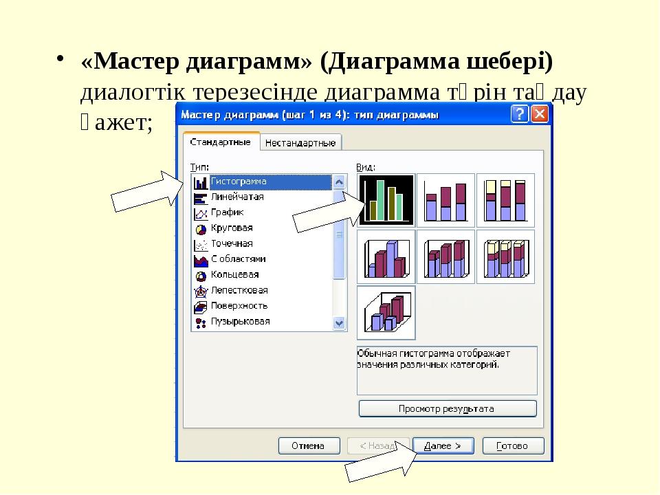 «Мастер диаграмм» (Диаграмма шебері) диалогтік терезесінде диаграмма түрін та...