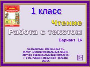 Вариант 16 Составитель: Васильева Г.Н., МАОУ «Экспериментальный лицей» «Научн