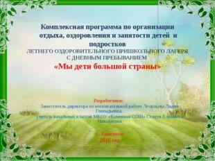 Комплексная программа по организации отдыха, оздоровления и занятости детей и