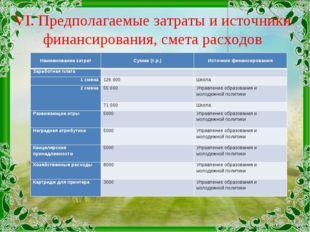 VI. Предполагаемые затраты и источники финансирования, смета расходов Наимено
