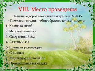 VIII. Место проведения Летний оздоровительный лагерь при МКОУ «Каменная средн