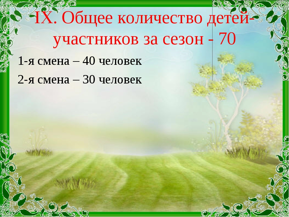 IX. Общее количество детей-участников за сезон - 70 1-я смена – 40 человек 2-...