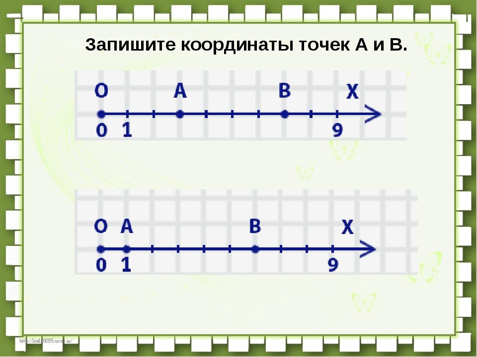 Запишите координаты точек А и В. http://linda6035.ucoz.ru/
