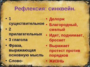 Рефлексия: синквейн. 1 существительное 2 прилагательных 3 глагола Фраза, выра
