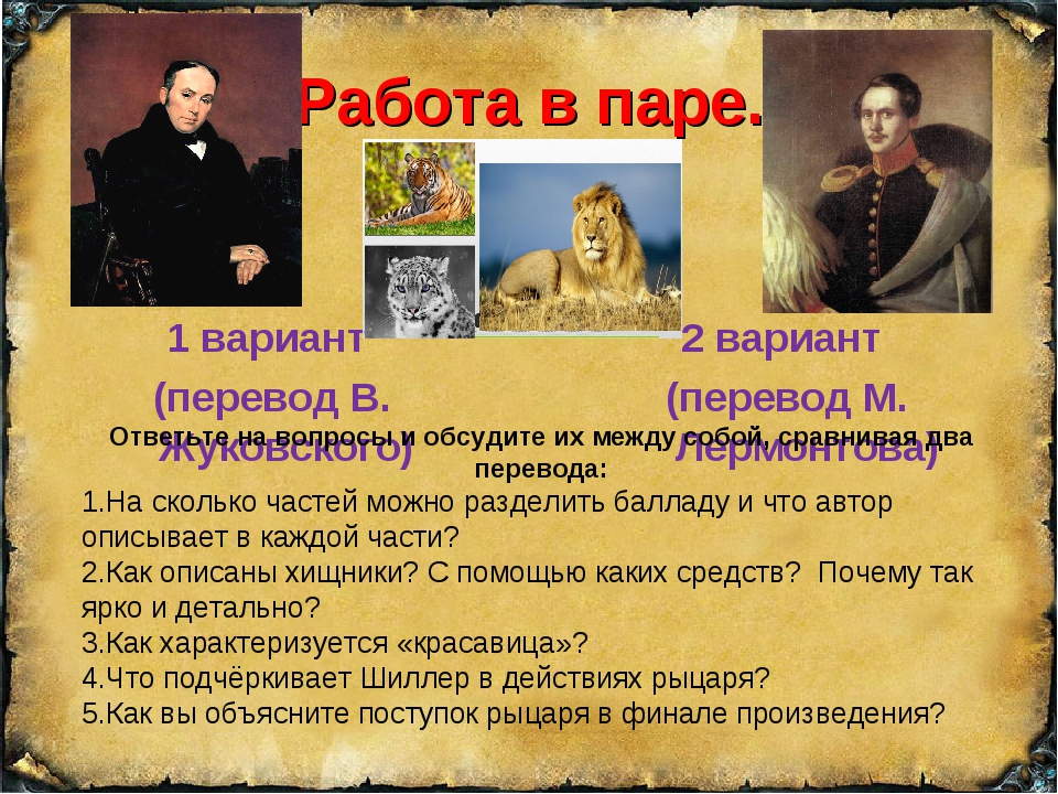 Работа в паре. 1 вариант (перевод В. Жуковского) 2 вариант (перевод М. Лермон...
