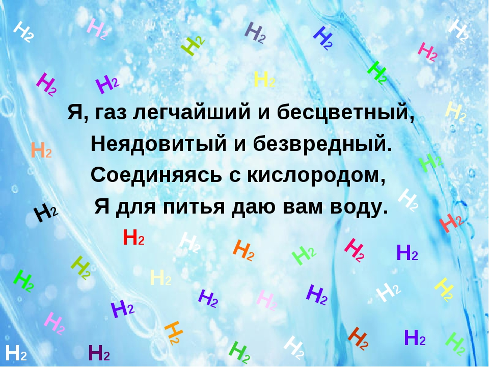 Я, газ легчайший и бесцветный, Неядовитый и безвредный. Соединяясь с кислоро...