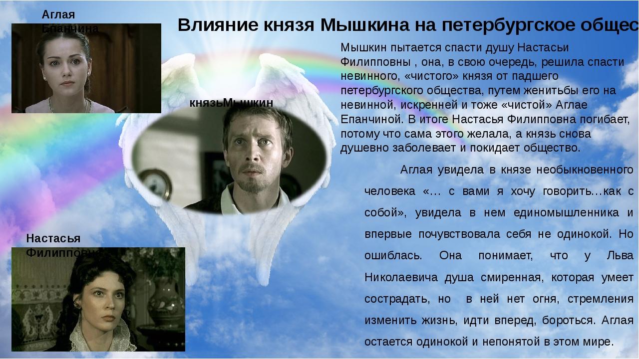 князьМышкин Аглая Епанчина Настасья Филипповна Мышкин пытается спасти душу Н...