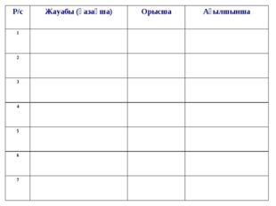 Р/сЖауабы (қазақша)ОрысшаАғылшынша 1 2 3 4 5 6 7