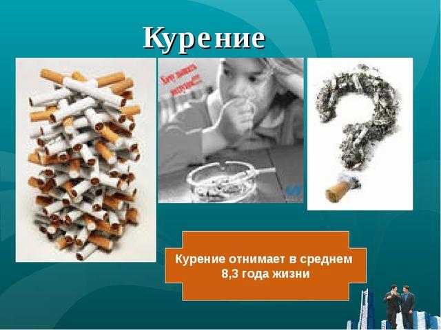 Курение Курение отнимает в среднем 8,3 года жизни