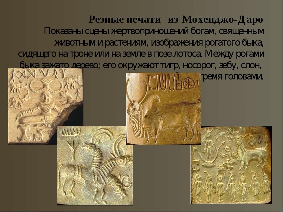 Резные печати из Мохенджо-Даро Показаны сцены жертвоприношений богам, священн...
