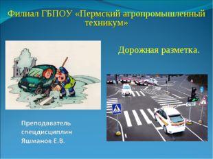 Дорожная разметка. Филиал ГБПОУ «Пермский агропромышленный техникум»