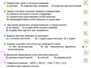 1. Химическая связь в молекуле аммиака: А) ионная; Б) ковалентная полярная; В