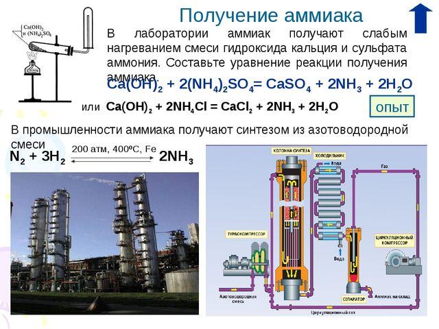 Получение аммиака В лаборатории аммиак получают слабым нагреванием смеси гидр...