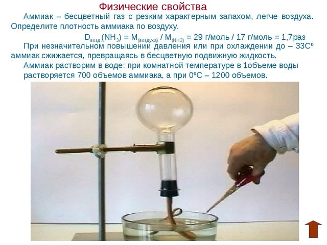 Физические свойства Аммиак – бесцветный газ с резким характерным запахом, ле...