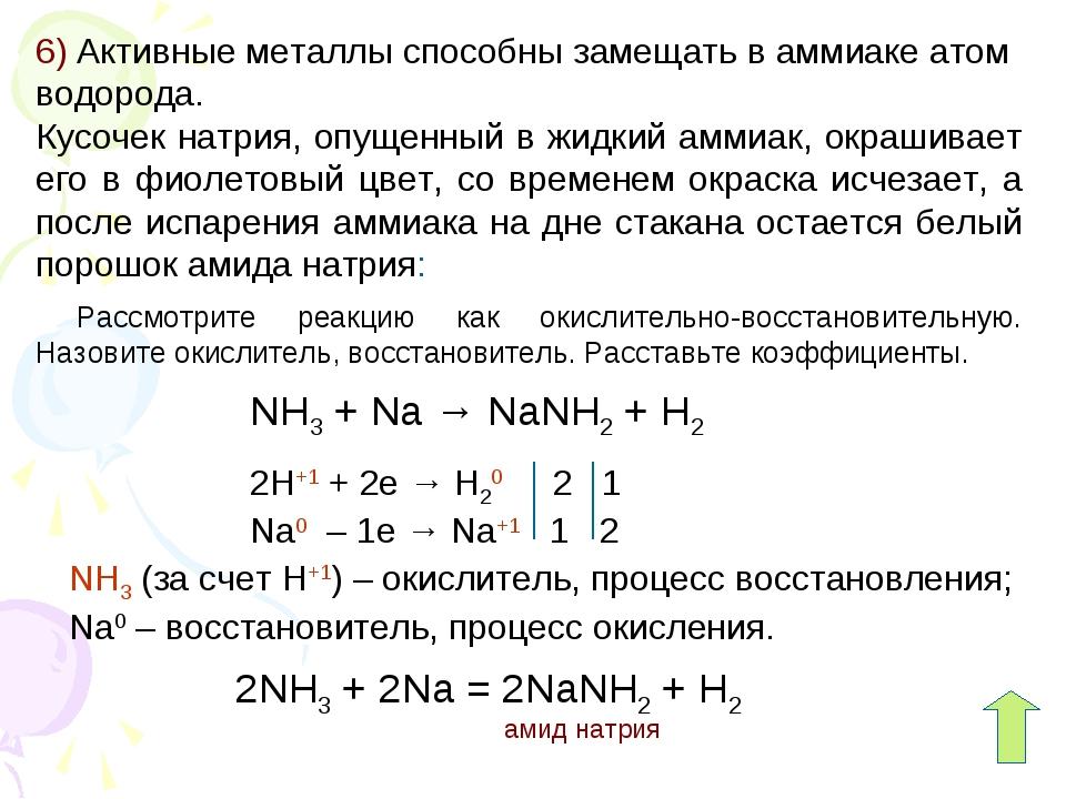 6) Активные металлы способны замещать в аммиаке атом водорода. Кусочек натрия...