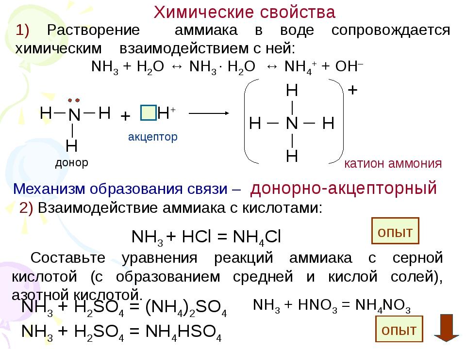 Химические свойства NH3 + H2O ↔ NH3 · H2O ↔ NH4+ + OH– 1) Растворение аммиака...