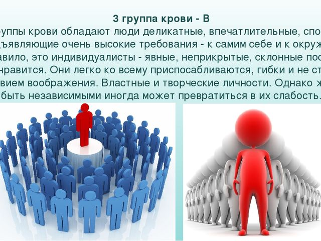 3 группа крови - В Этой группы крови обладают люди деликатные, впечатлительны...