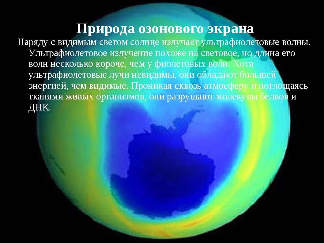Природа озонового экрана Наряду с видимым светом солнце излучает ультрафиолет...