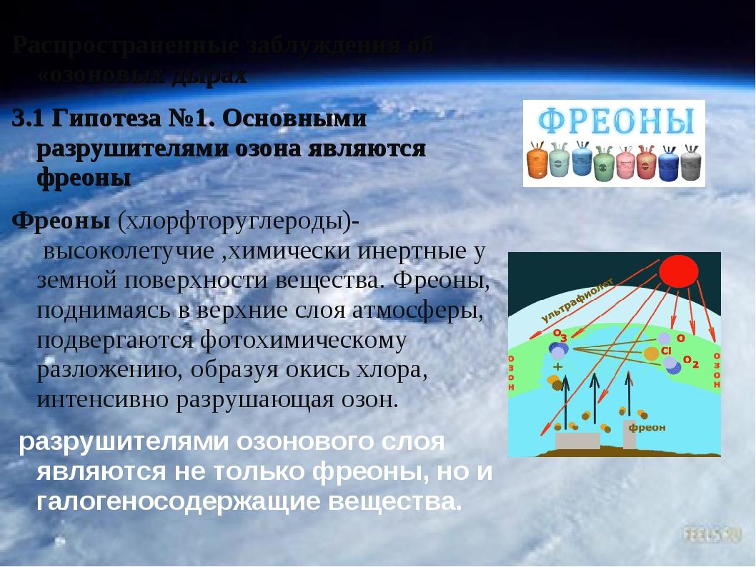 Распространенные заблуждения об «озоновых дырах 3.1 Гипотеза №1. Основными ра...