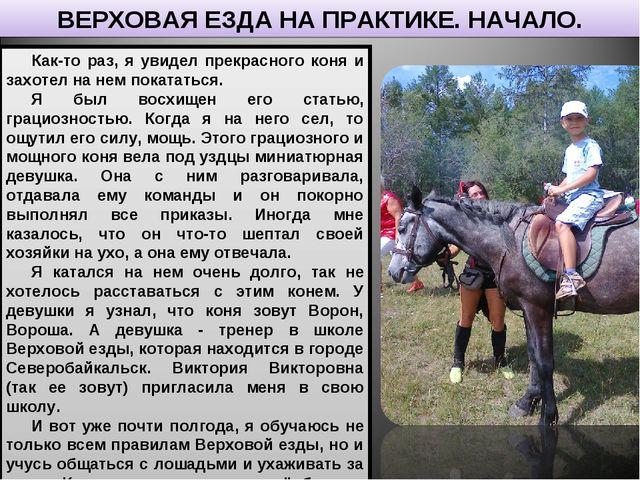 Как-то раз, я увидел прекрасного коня и захотел на нем покататься. Я был восх...