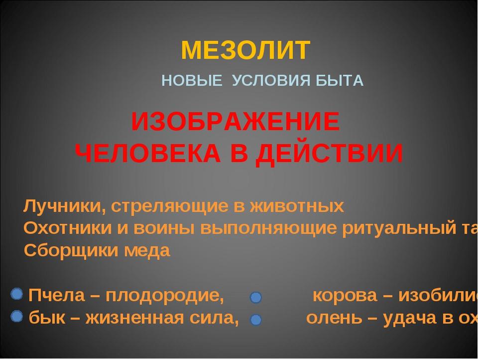 МЕЗОЛИТ НОВЫЕ УСЛОВИЯ БЫТА ИЗОБРАЖЕНИЕ ЧЕЛОВЕКА В ДЕЙСТВИИ Лучники, стреляющи...
