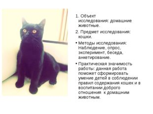 1. Объект исследования:домашние животные. 2. Предмет исследования: кошки. Ме