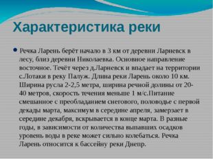 Характеристика реки Речка Ларень берёт начало в 3 км от деревни Ларневск в ле