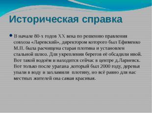 Историческая справка В начале 80-х годов XX века по решению правления совхоза