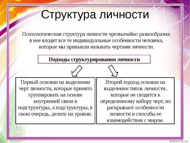 Структура личности Психологическая структура личности чрезвычайно разнообразн...