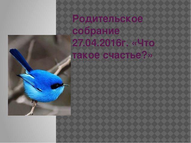 Родительское собрание 27.04.2016г. «Что такое счастье?»