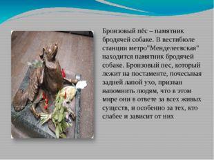 """Бронзовый пёс – памятник бродячей собаке. В вестибюле станции метро""""Менделее"""