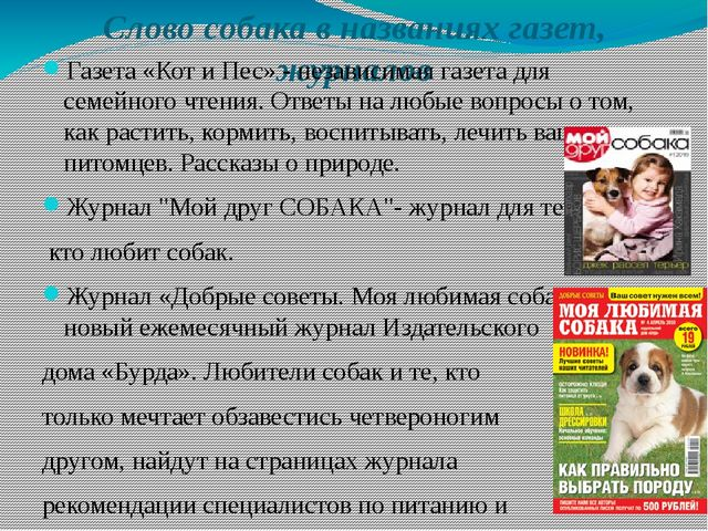 Слово собака в названиях газет, журналов Газета «Кот и Пес»- независимая газ...