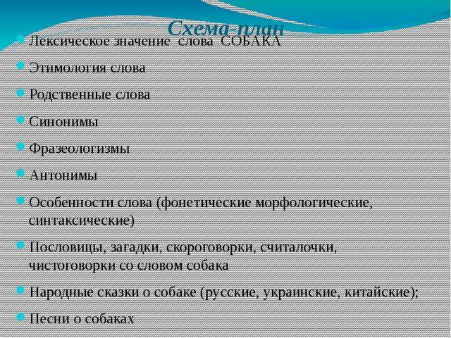 Схема-план Лексическое значение слова СОБАКА Этимология слова Родственные сло...