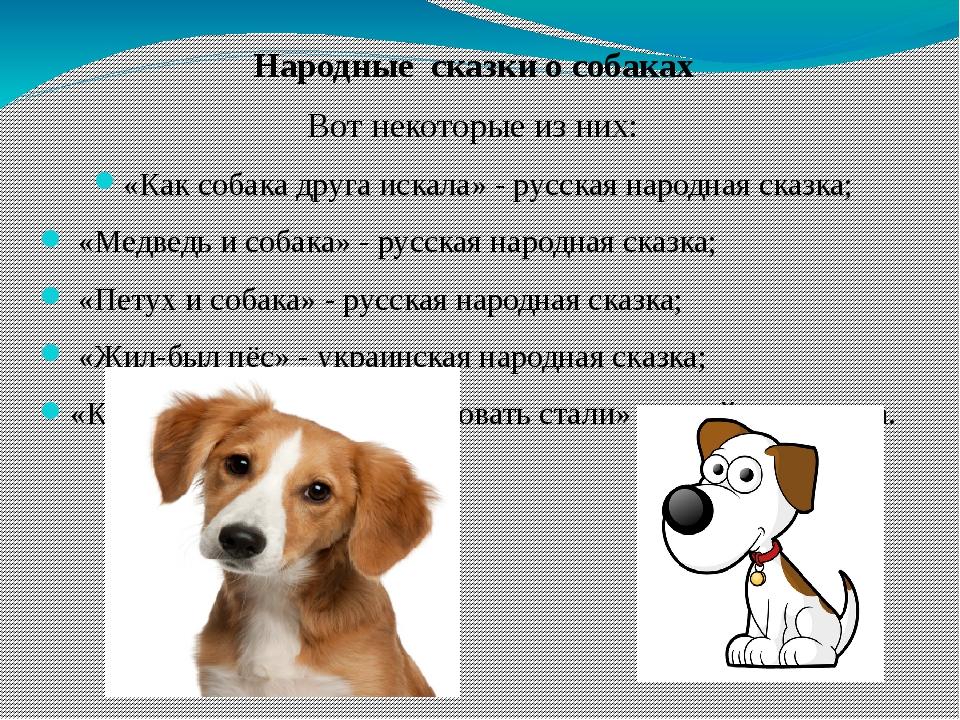 Народные сказки о собаках Вот некоторые из них: «Как собака друга искала» -...