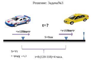 Решение: Задача№3 S=Vt S=8км t=? t=8:(120-118)=4 часа.
