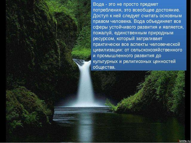 Вода - это не просто предмет потребления, это всеобщее достояние. Доступ к не...